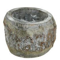 Vaso in legno per piantare lavato bianco Ø14cm