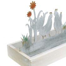 Vassoio in legno con decorazione in metallo Prato di primavera 43cm