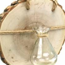 Disco di legno con vaso di vetro da appendere Ø22cm