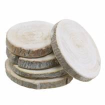 Dischi di legno tondi imbiancati Ø3-4,5cm 400g in una rete