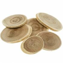 Dischi decorativi in legno disco ovale naturale Ø4-7cm decoro in legno 400g