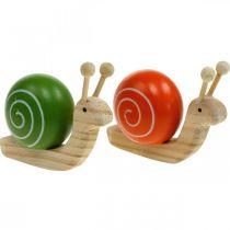 Lumache in legno per decorare, primavera, lumache da giardino verde-arancio, decorazioni da tavola 6pz