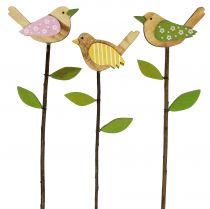 Spilla in legno uccello colorato L30cm 9 pezzi