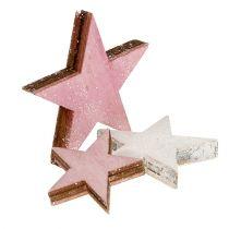 Stella in legno 3-5 cm rosa / bianco con glitter 24 pezzi