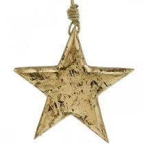 Stella da appendere, decoro in legno effetto oro, Avvento 14cm × 14cm