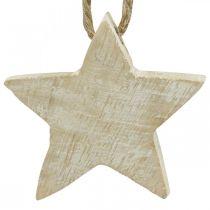 Stelle in legno Decorazioni per alberi di Natale naturali, lavate bianche 5cm 36 pezzi