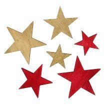 Stelle in legno 3-5 cm natura / rosso 24 pezzi