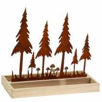 Vassoio in legno silhouette foresta ruggine 30 cm x 15 cm