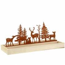 Vassoio in legno foresta con animali 35 cm x 15 cm