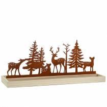 Vassoio in legno foresta con animali 50 cm x 17 cm