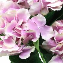 Ortensia fiori di seta in vaso lilla 35cm