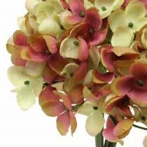 Mazzo di ortensie fiori artificiali rosa, giallo 28 cm