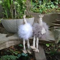 Coppia di polli decorazione pasquale, sedute di bordo, primavera, polli decorativi con piume 2pz