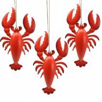 Appendino decorativo aragosta in metallo rosso 11,5x21,5cm 3 pezzi