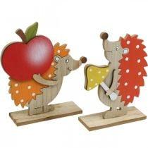 Statuina autunnale, riccio con mela e fungo, decorazione in legno arancione / rosso H24 / 23,5 cm set di 2