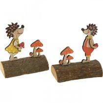 Riccio con funghi, figura autunnale, coppia di ricci in legno giallo / arancione H11cm L10 / 10,5cm set di 2