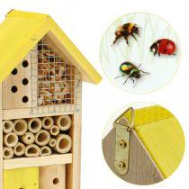 Scatola per nidificazione da giardino per casa per insetti in legno gialla per hotel per insetti H26cm