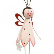 Scarabeo da appendere, decoro primaverile, scarabeo in metallo con fiore, appendiabiti 2pz