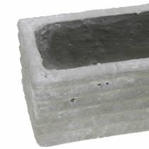 Scatola per piante in cemento grigio chiaro 30x7cm H6,5cm 2 pezzi