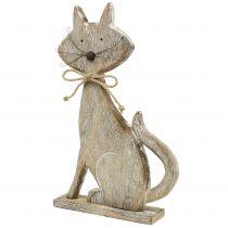 Figura in legno gatto natura, bianco 37cm
