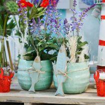 Cachepot in ceramica, fioriera, vaso di fiori motivo a onde Ø12,5cm 3 pezzi