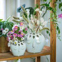 Vaso in ceramica con crema per il viso, effetto gres beige H13cm 1p