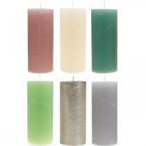 Candele pilastro colorate in diversi colori 85 × 200 mm 2pz