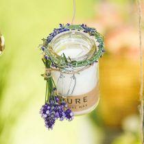 Candela in una decorazione di vetro con coperchio Pure Nature candela di cera cera d'api olio d'oliva