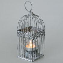 Candela decorazione, gabbia per uccelli con vetro tealight, lanterna in metallo, decorazione matrimonio, lanterna 22cm