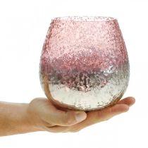 Lanterna in vetro, portacandela, decorazione da tavola, candela in vetro rosa / argento Ø15cm H15cm