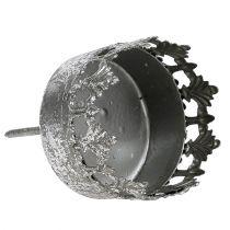 Portacandele a punta Argento Antico Ø5cm H10cm 1pz