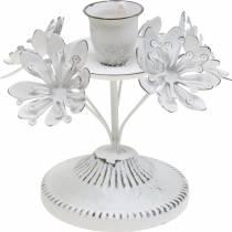 Decoro candela, primavera, portacandele con fiori, decoro in metallo per il matrimonio