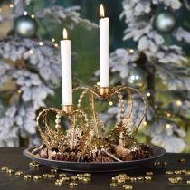 Corona candeliere, decorazione da tavola, Avvento, corona in metallo Dorato Ø14cm H13cm