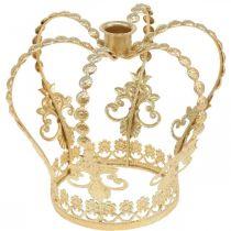 Corona con portacandele, decorazione per Natale, decorazione in metallo, decorazione corona dorata Ø19,5cm H16cm