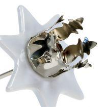 Candeliere stella bianco-argento Ø6cm 4 pezzi