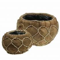 Fioriera cocco naturale Ø37 / 24cm, set di 2