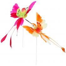 Colibrì sul filo per collegare rosa, arancione 17 cm 6 pezzi