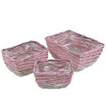 Cesto quadrato set di 3 natura rosa