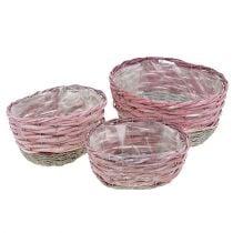 Cesto ovale set di 3 rosa, natura