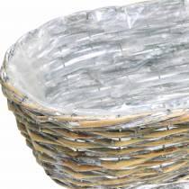 Cesto per piante, ovale, naturale, bianco lavato 37/43/49 cm, set di 3