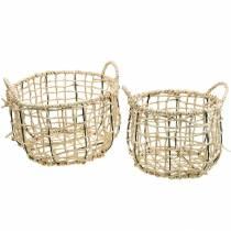 Cesto di vimini fatto di alghe, cesto decorativo, cesto portaoggetti, cesto manico rotondo Ø36 / 28 set di 2