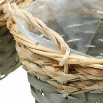Cesto per piante, cesto intrecciato per piantare, cesto di fiori rotondo, naturale, grigio Ø29 / 23,5 / 18 cm, set di 3