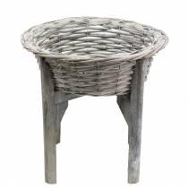 Ciotola cestino con supporto in legno grigio, bianco lavato Ø33cm