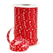 Nastro arricciacapelli rosso con motivo a stella 10mm 150m