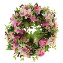 Ghirlanda floreale con ortensie e bacche Rosa Ø30cm