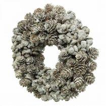 Ghirlanda decorativa coni larice e cipresso bianco, glitter Ø20cm 2pz