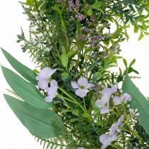 Corona decorativa eucalipto, felce, fiori Ghirlanda artificiale Corona da tavolo