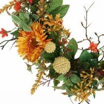 Ghirlanda autunnale di fiori di seta gerbera gialla ghirlanda di muro di cardo Ø42cm