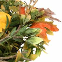 Ghirlanda di foglie autunnali artificialmente verdi, gialle, arancioni Ø45cm