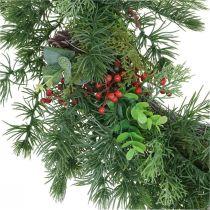 Ghirlanda decorativa di pino bacche artificiali ghirlanda di pino decorazione da tavola Ø58cm